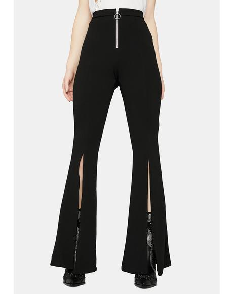 Sassy Showdown Slit Bell Bottom Pants