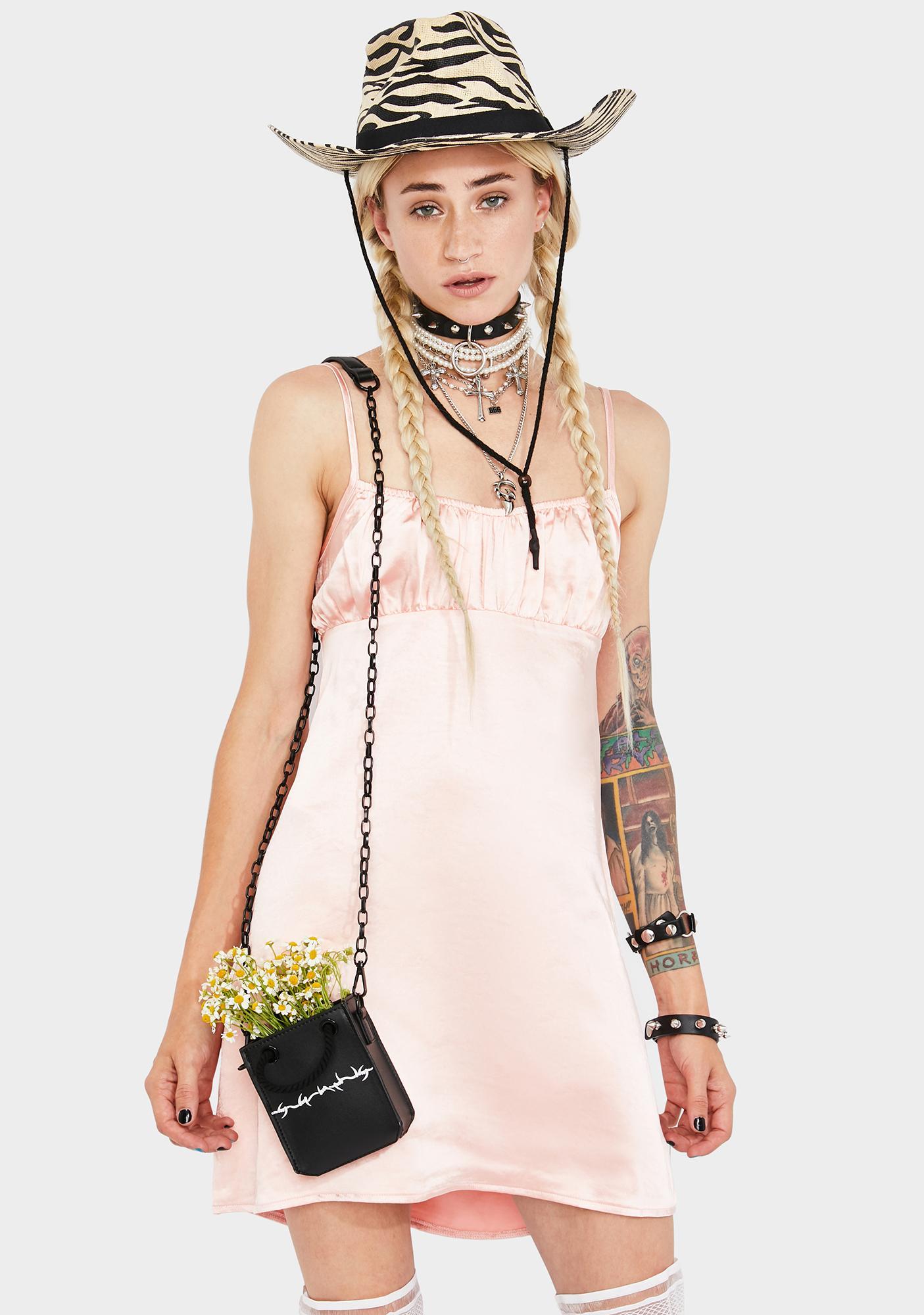 Motel Satin Peach Dahlia Mini Dress