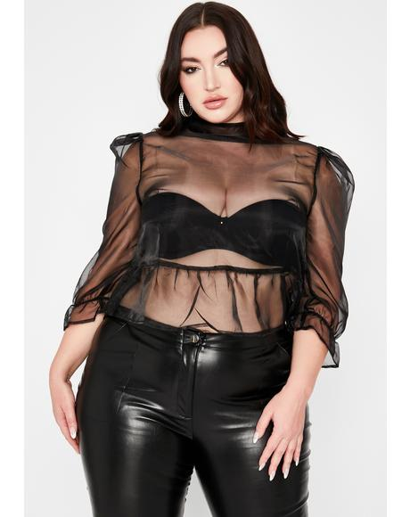 Dark Legit Blurred Lines Organza Blouse