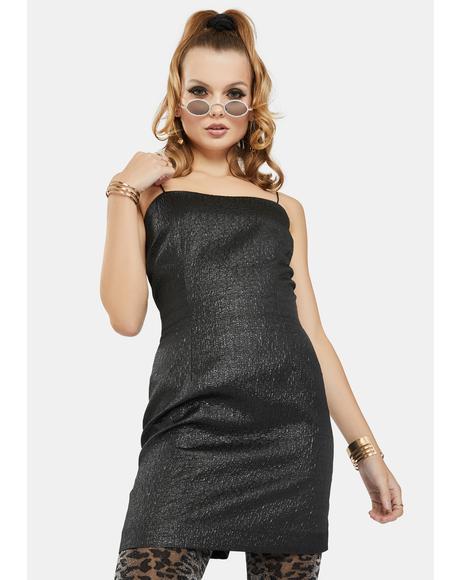 Black Metallic Brocade Mini Dress