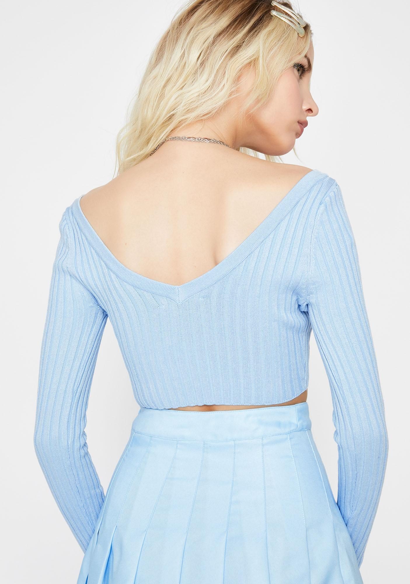 Royal Mean Gurl Cropped Knit Sweater