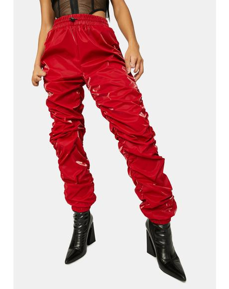 Spicy Reflect On It Shiny Ruched Joggers