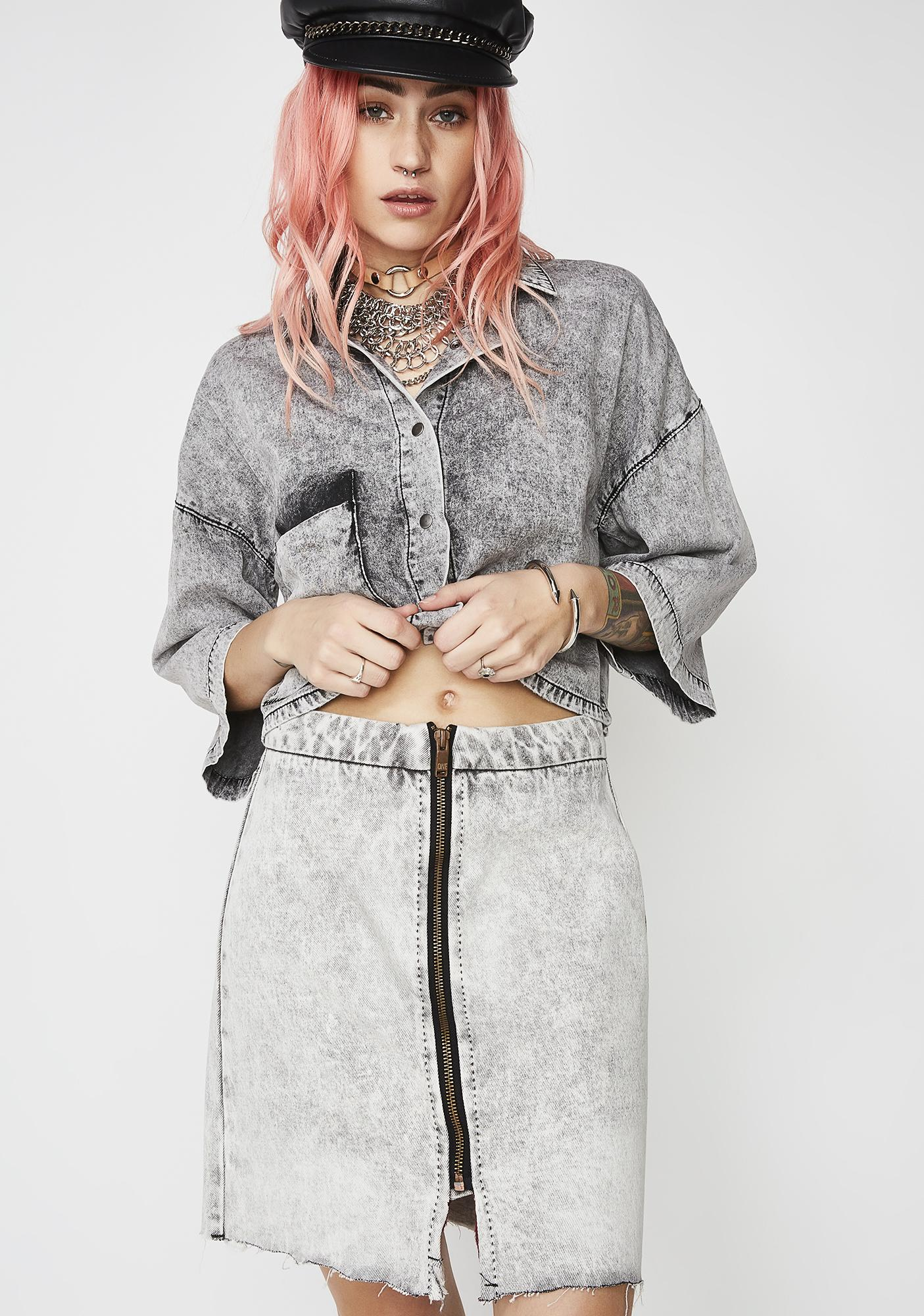 One Teaspoon Vixen High Waist Denim Skirt