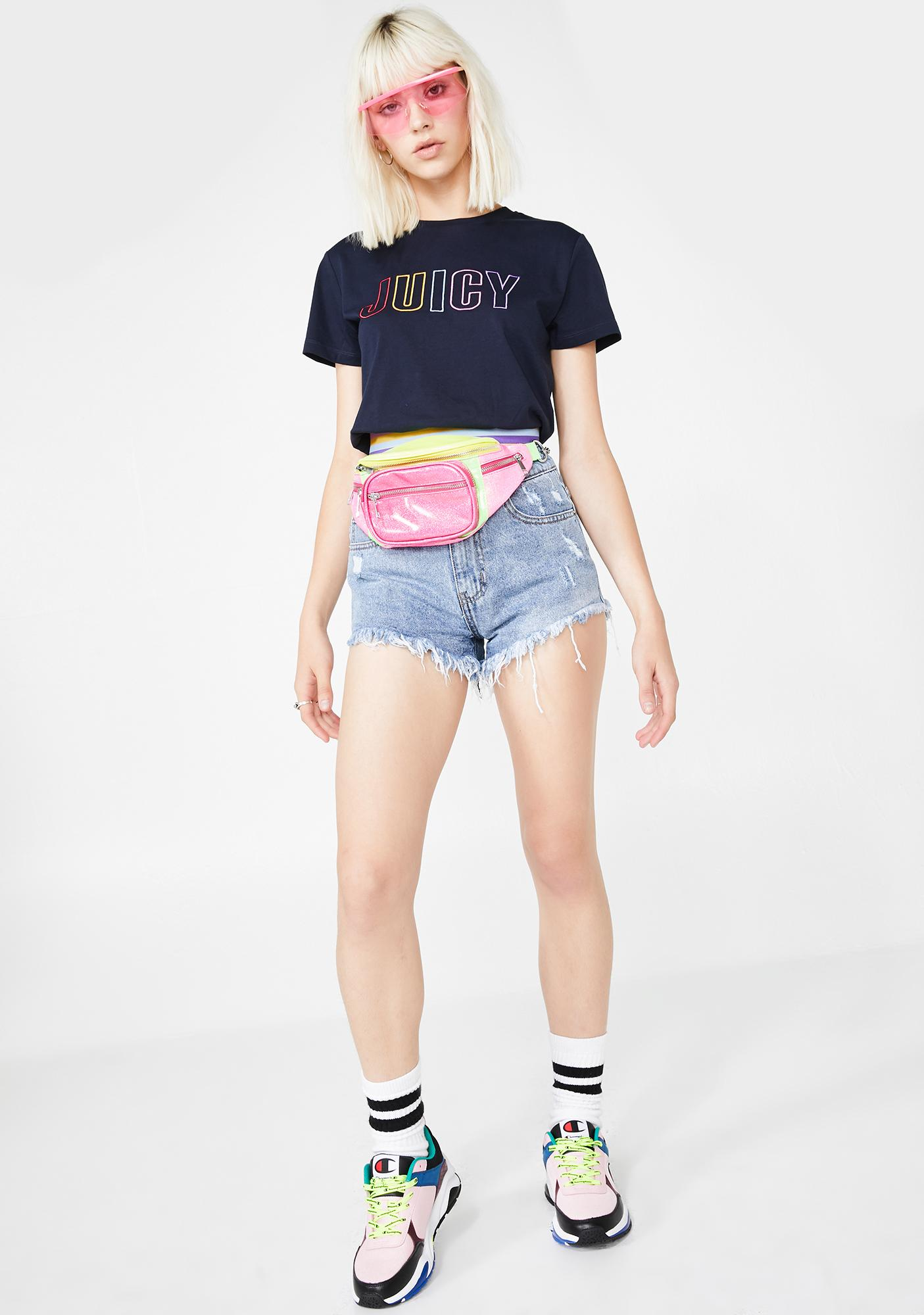 JUICY COUTURE Logo Rainbow Graphic Tee