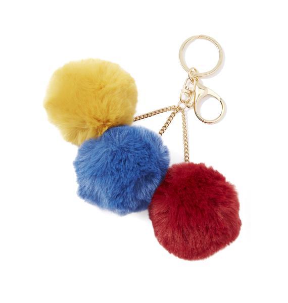 Rainbow Triple Pom Pom Keychain