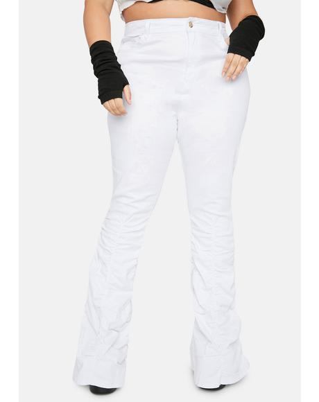It's Not My Problem Shirred Flare Jeans
