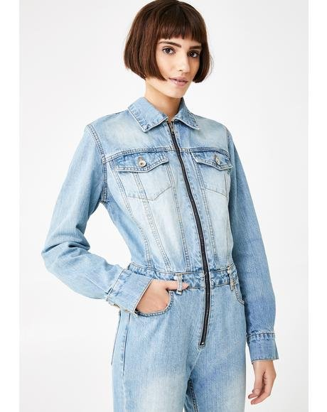 Night Is Young Denim Jumpsuit
