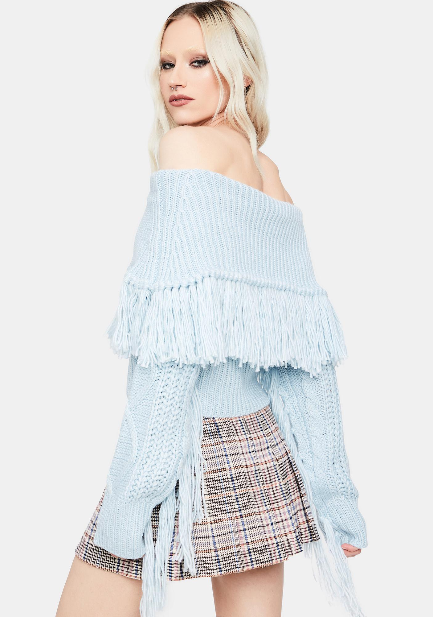 Sky Harvard Bound Off The Shoulder Sweater