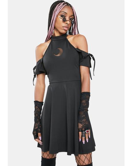 Faraway Light Shoulder Cut-Out Mini Dress