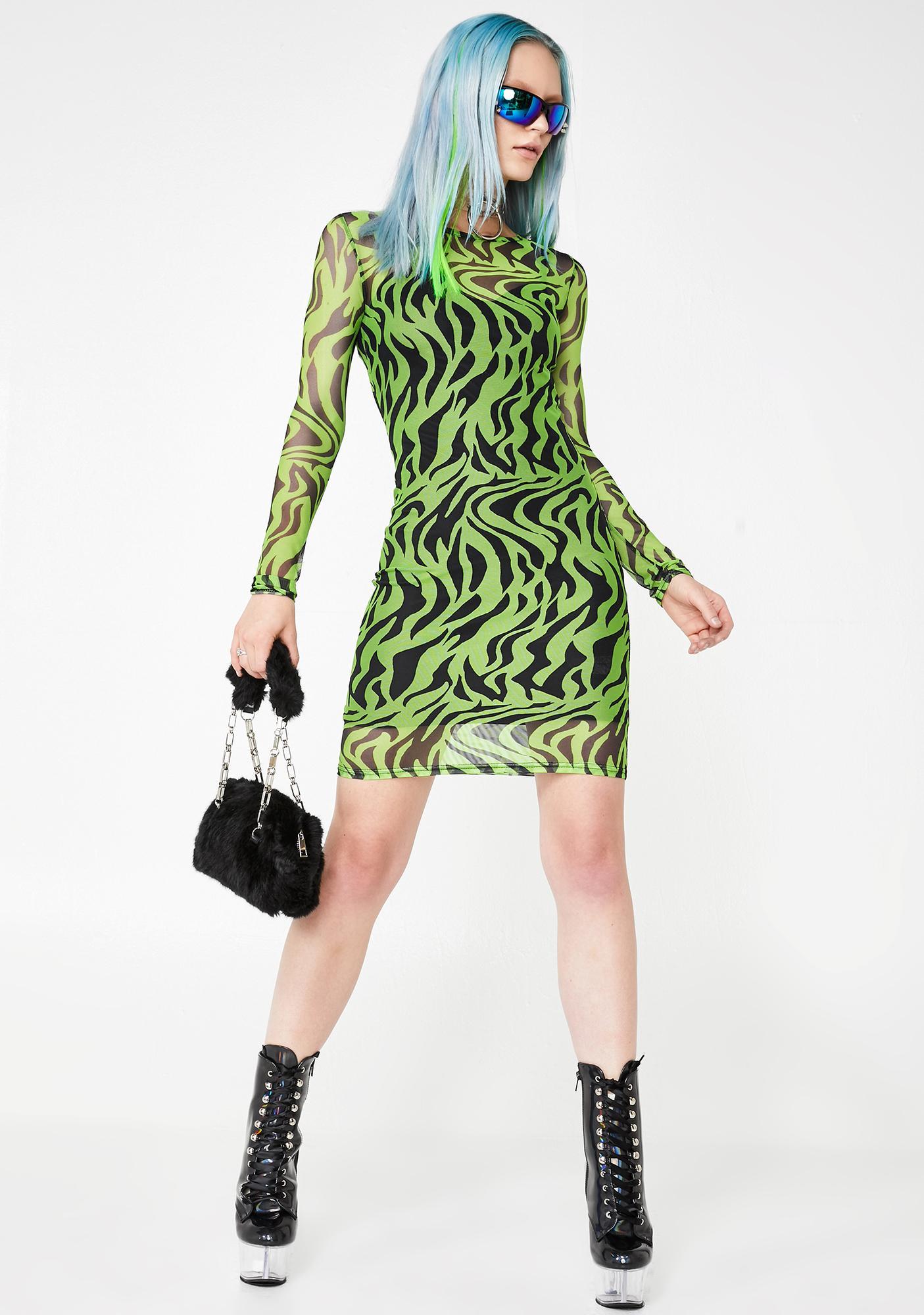 Daisy Street Zebra Print Mesh Dress