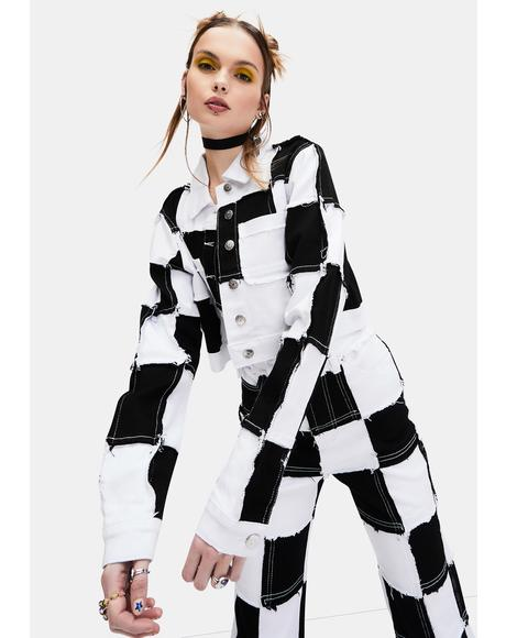 Tunnel Vision Checkered Crop Jacket