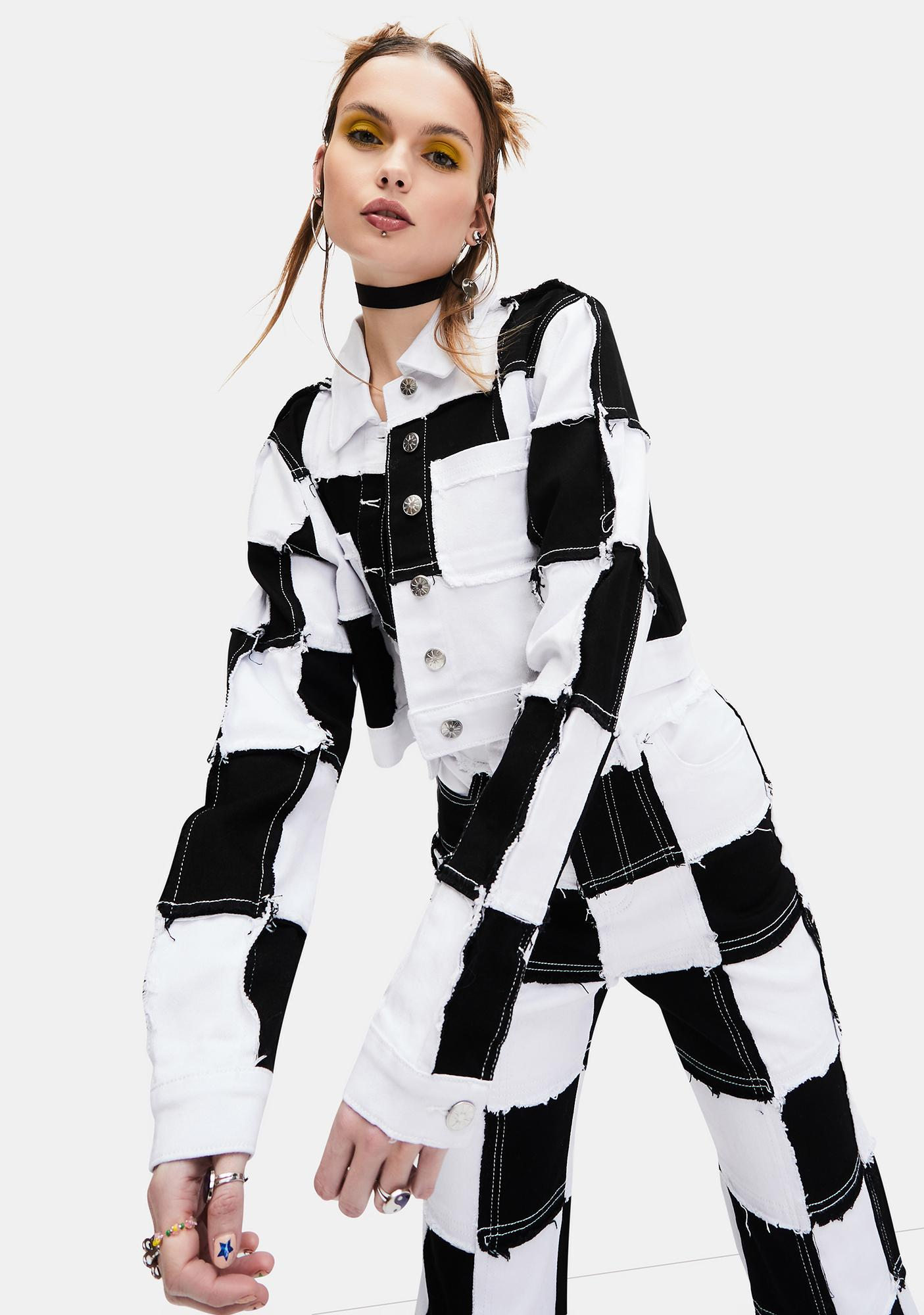 dELiA*s by Dolls Kill Tunnel Vision Checkered Crop Jacket