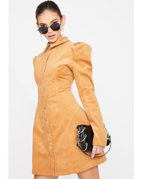 Long Sleeve Puff Sleeve Flare Dress