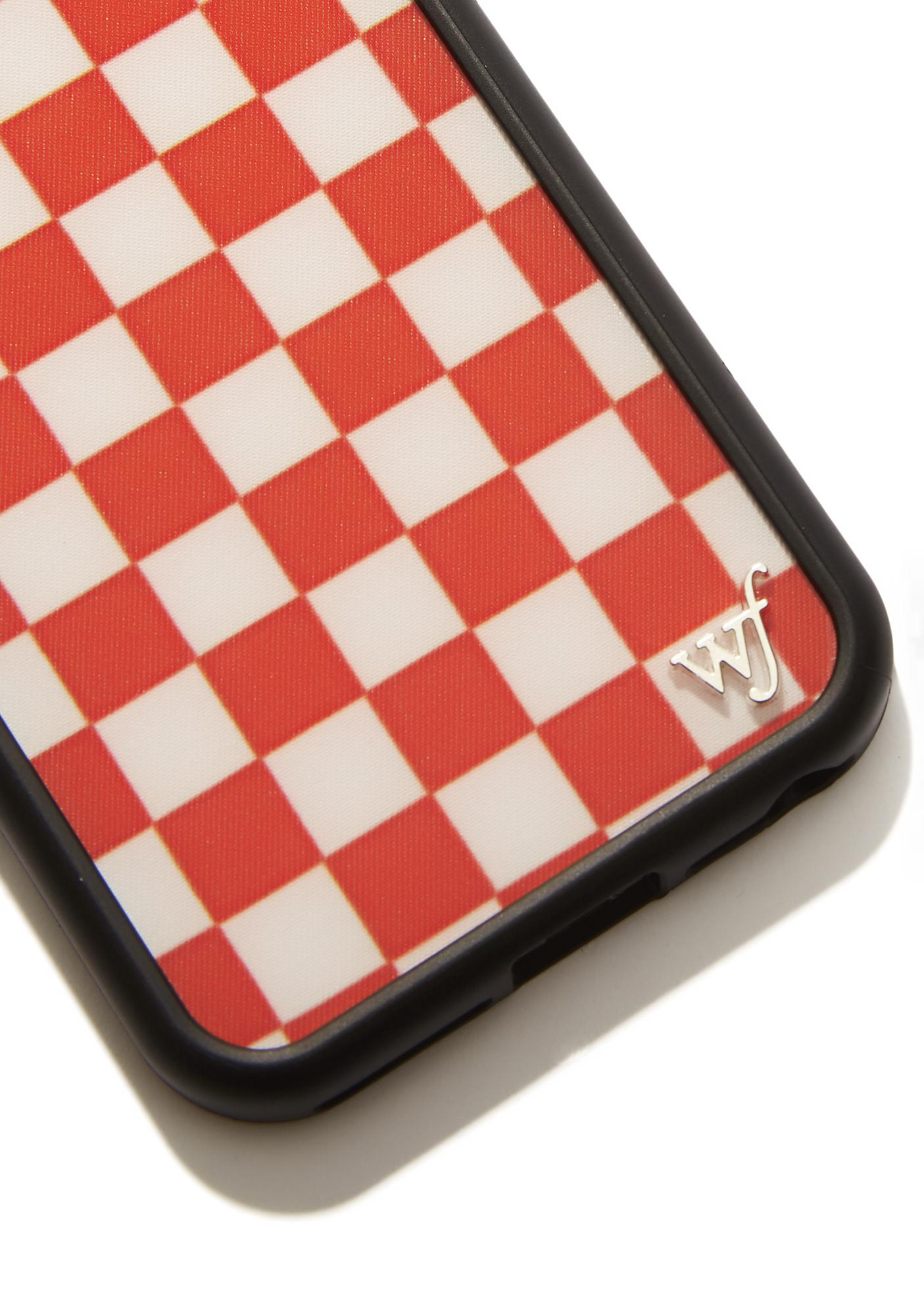 Wildflower Red Checkers IPhone Case