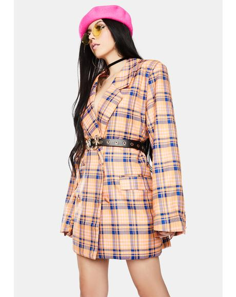 Blue Orange Check Blazer