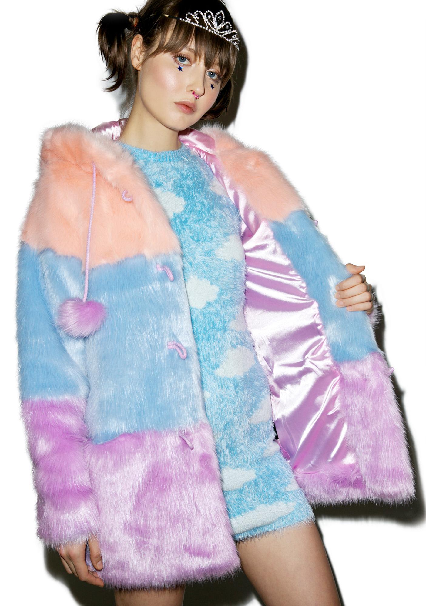 Lazy Oaf Pastel Faux Fur Coat