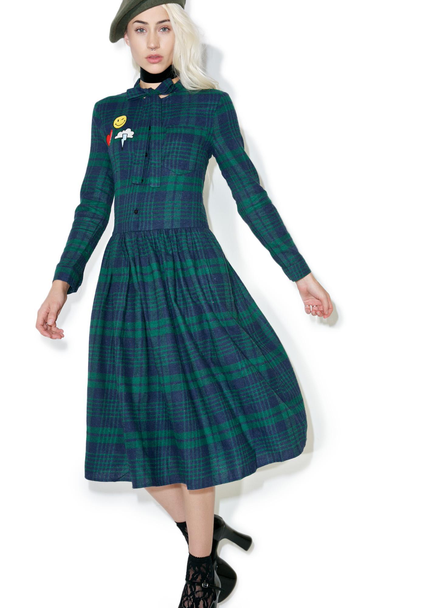 So Peculiar Plaid Midi Dress