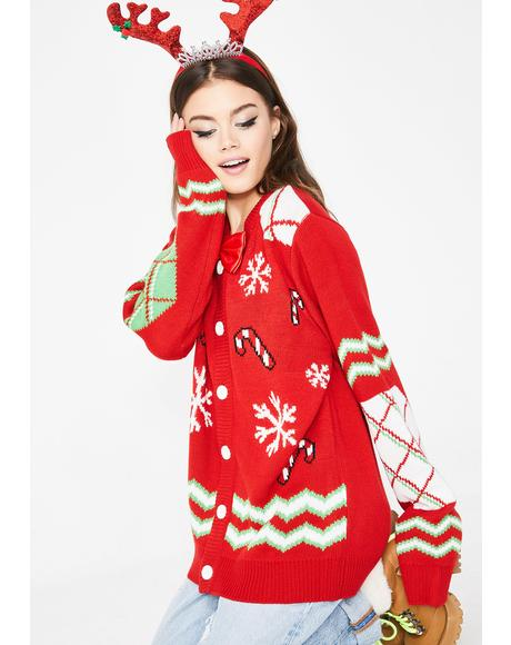Deck Yourself Candy Canes Cardigan