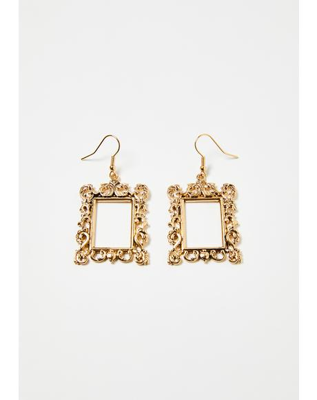 Off The Wall Ornate Frame Drop Earrings