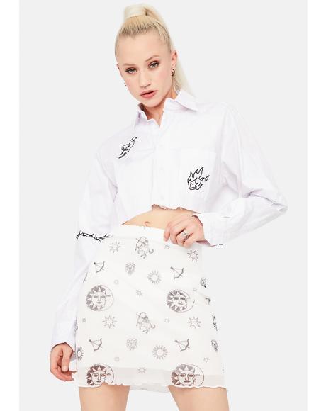 Sun and Stars Mesh Mini Skirt