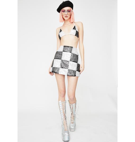 Glitter Kitten Black Check Me Out Skirt Set