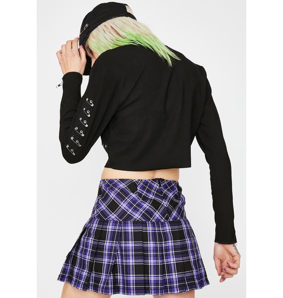 Tripp NYC Purple Pleated Plaid Mini Skirt