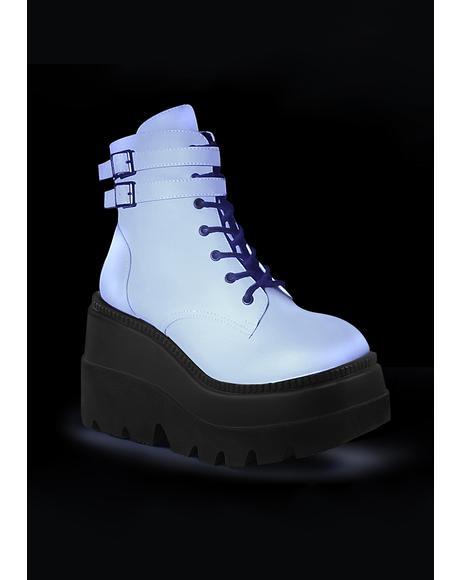 Reflective Technopagan Platform Boots