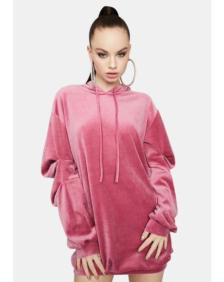 Back To Basics Velour Hoodie Dress