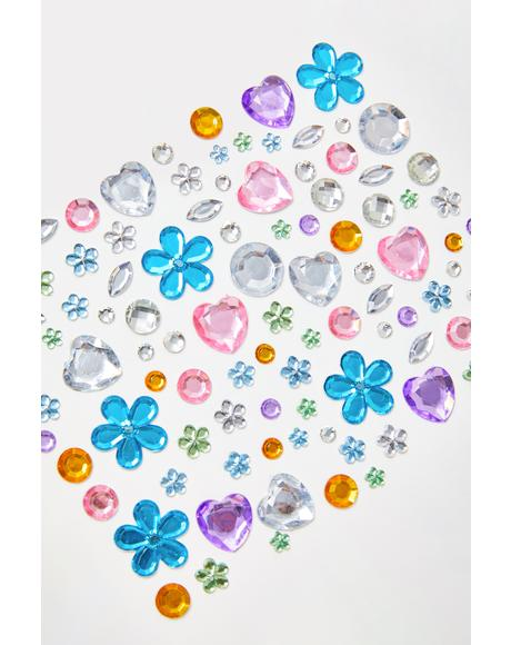 Colorful Floral Face Gems