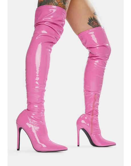 Pink Confidence Patent Stiletto Boots