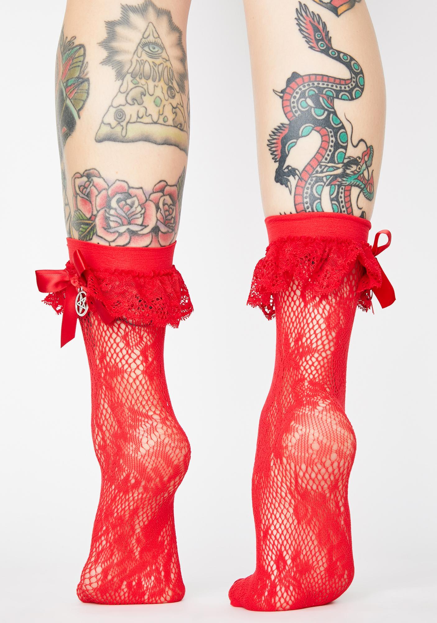 Killstar Crimson Casting Lace Socks