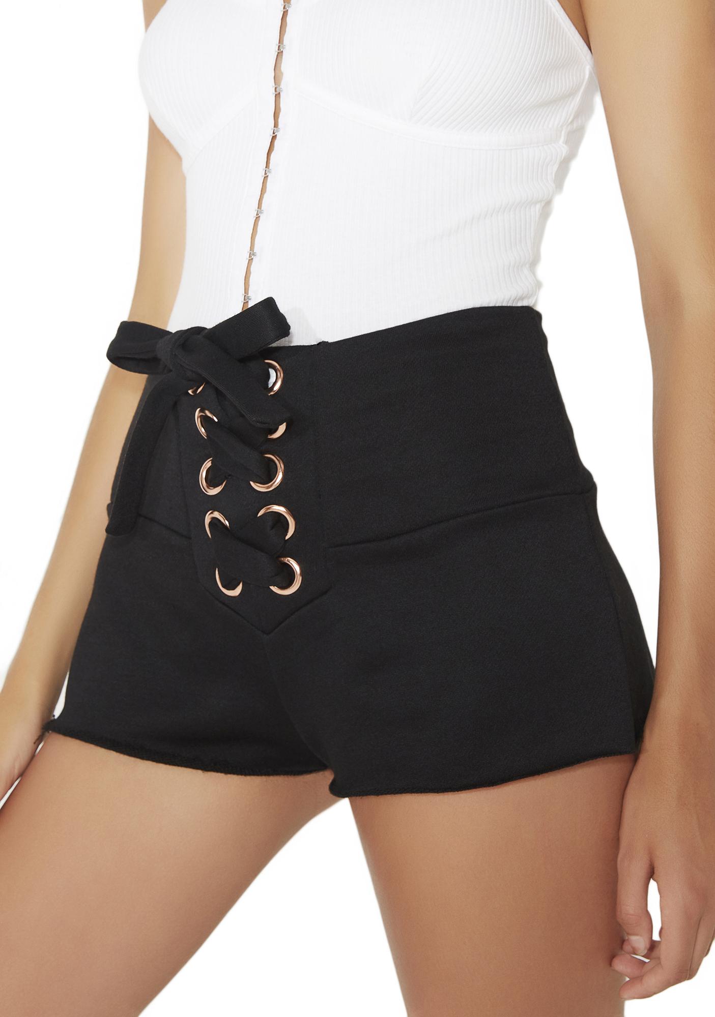 Large Grommet Lace Up Shorts Black