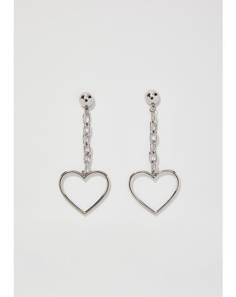 Chrome Linking Hearts Earrings