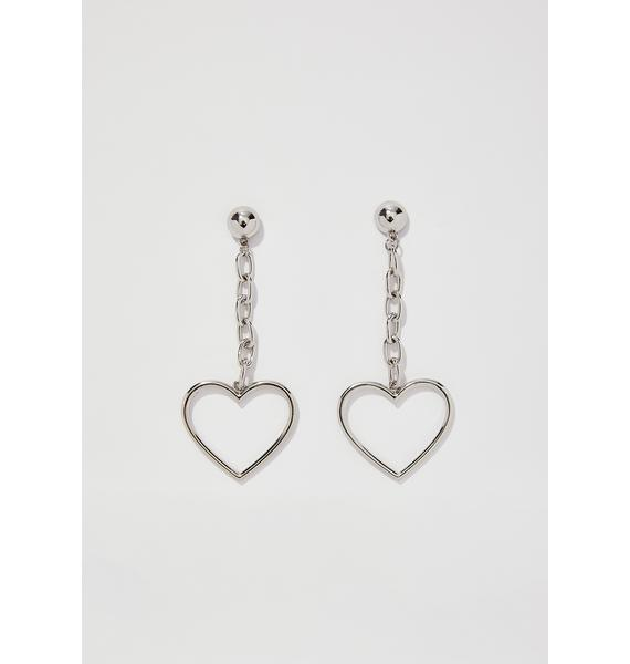 Chrome Linking Hearts Earrings