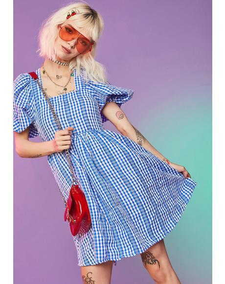 Arms Wide Open Gingham Dress