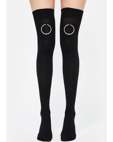 Captive Bead Thigh High Socks
