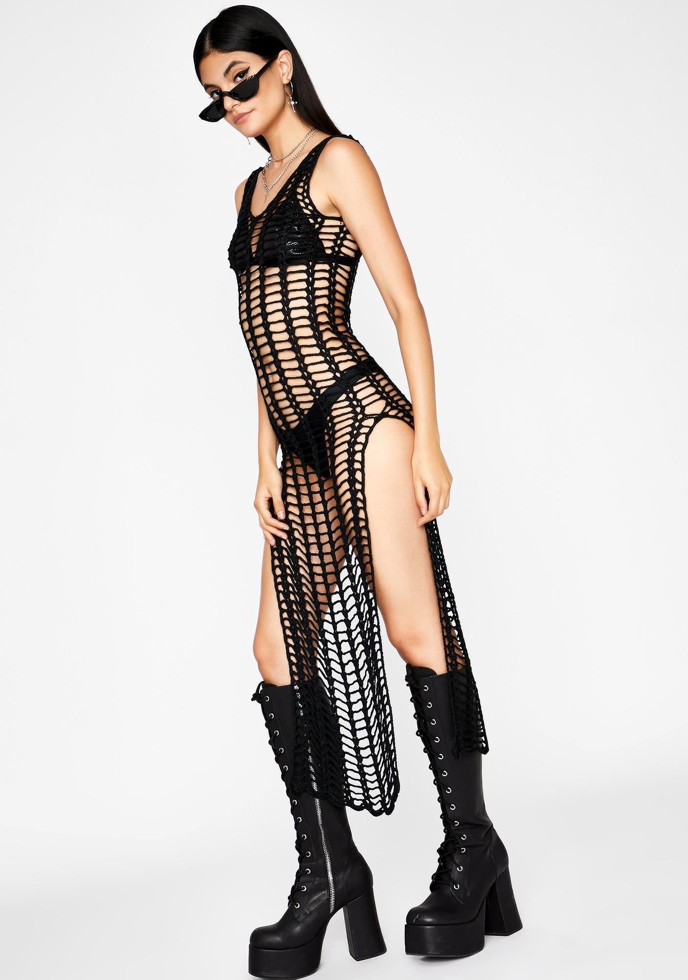 Don't Stare Fishnet Dress