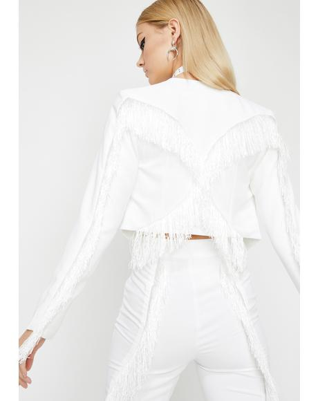Blanc Fringe Off Cropped Jacket