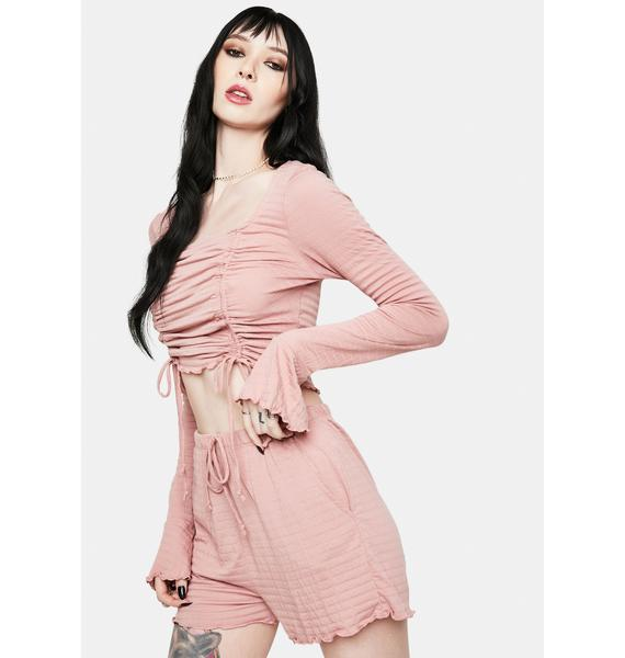 Bailey Rose Mauve Ruched Long Sleeve Top
