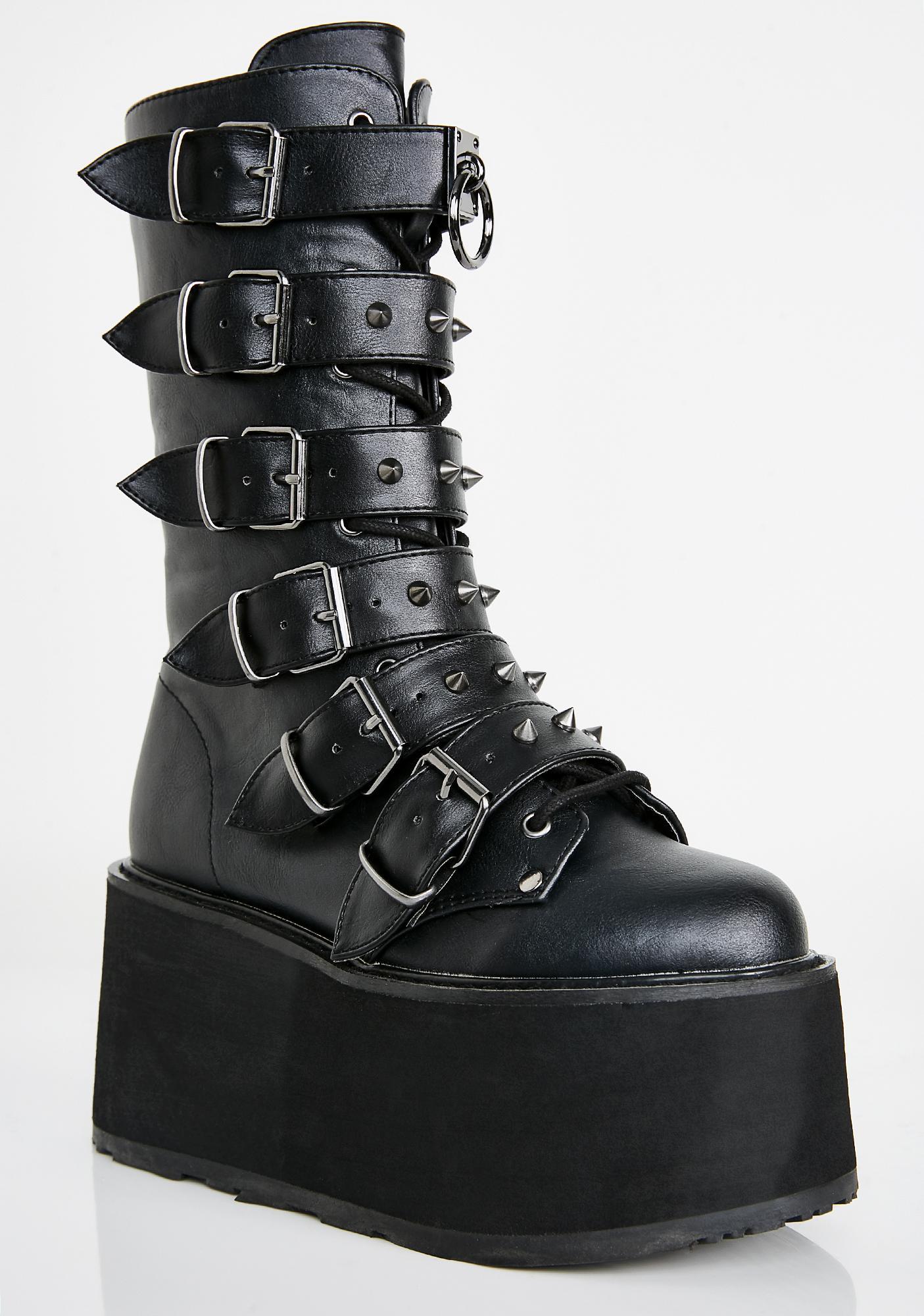 Demonia Midnight Prizm Heist Buckle Boots
