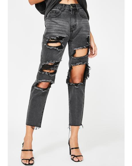 Washed Black Extreme Distressed Jeans