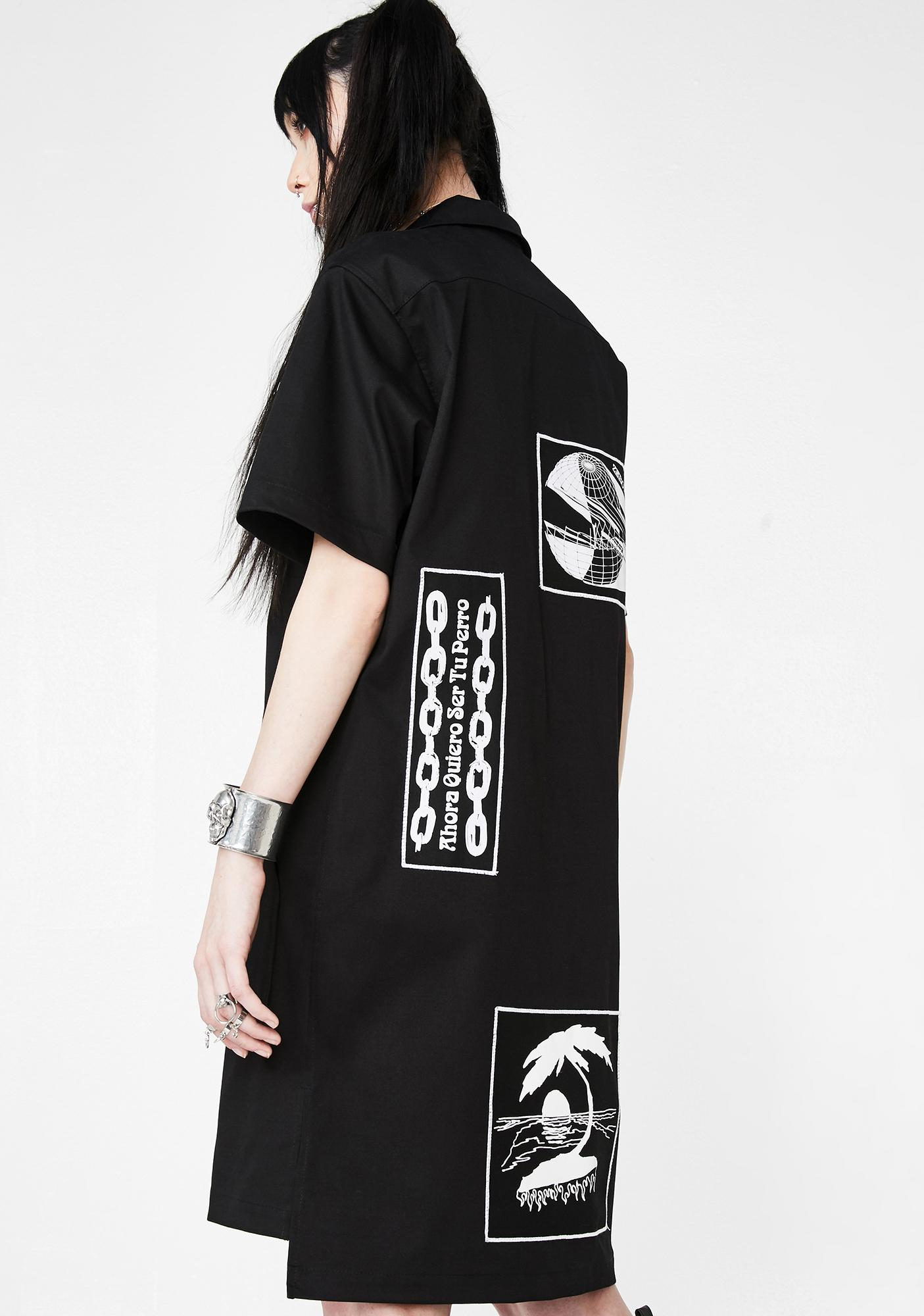 Dreamland Syndicate Zipper Dress With Patches