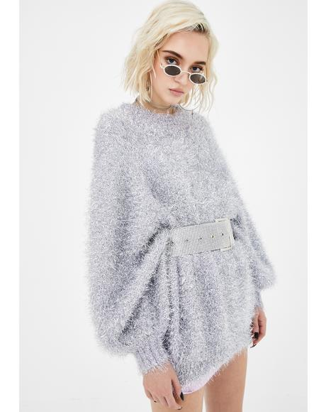 Silver Lilac Metallic Fuzzy Sweater