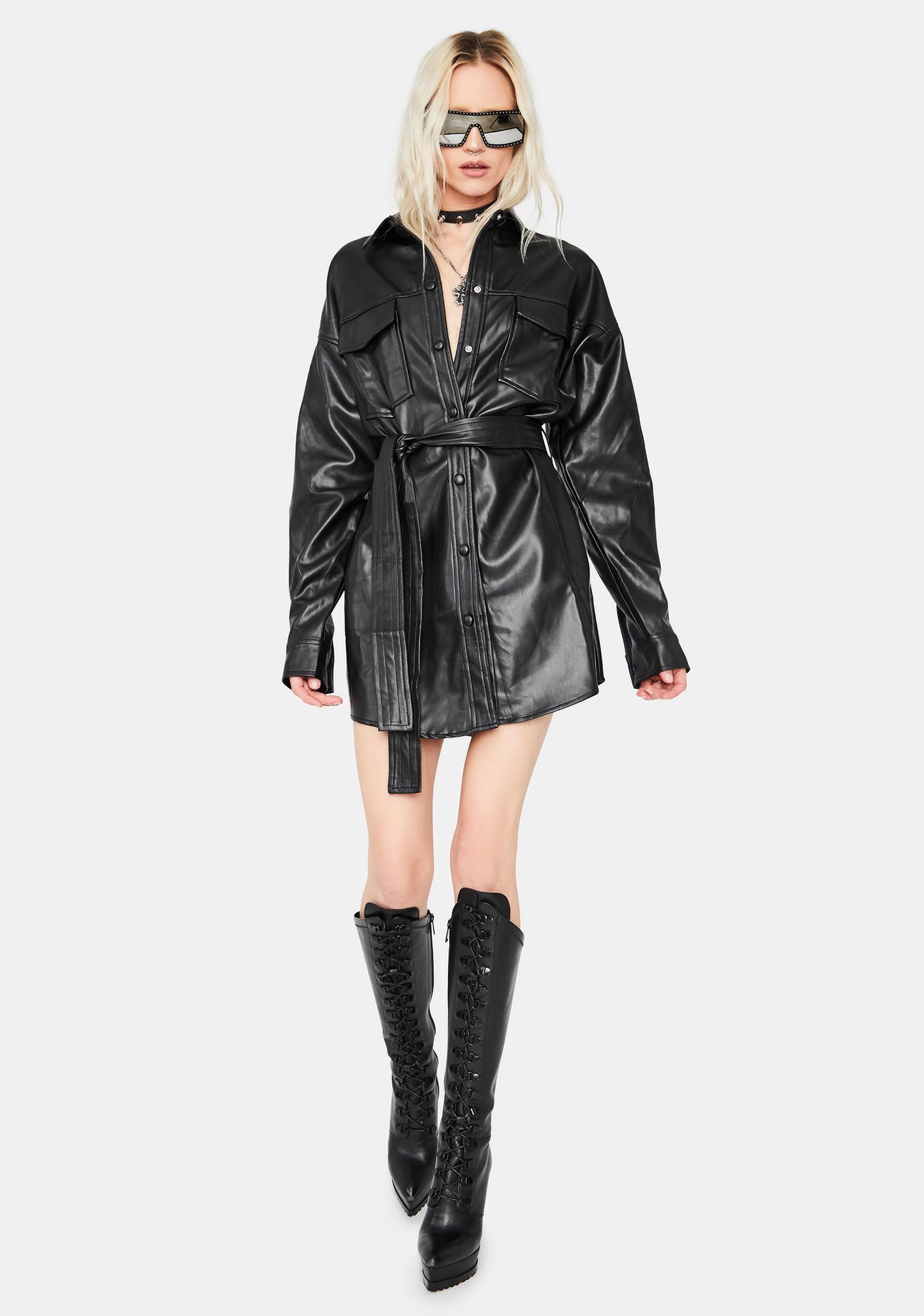 Midnight Girl Vegan Leather Shirt Dress