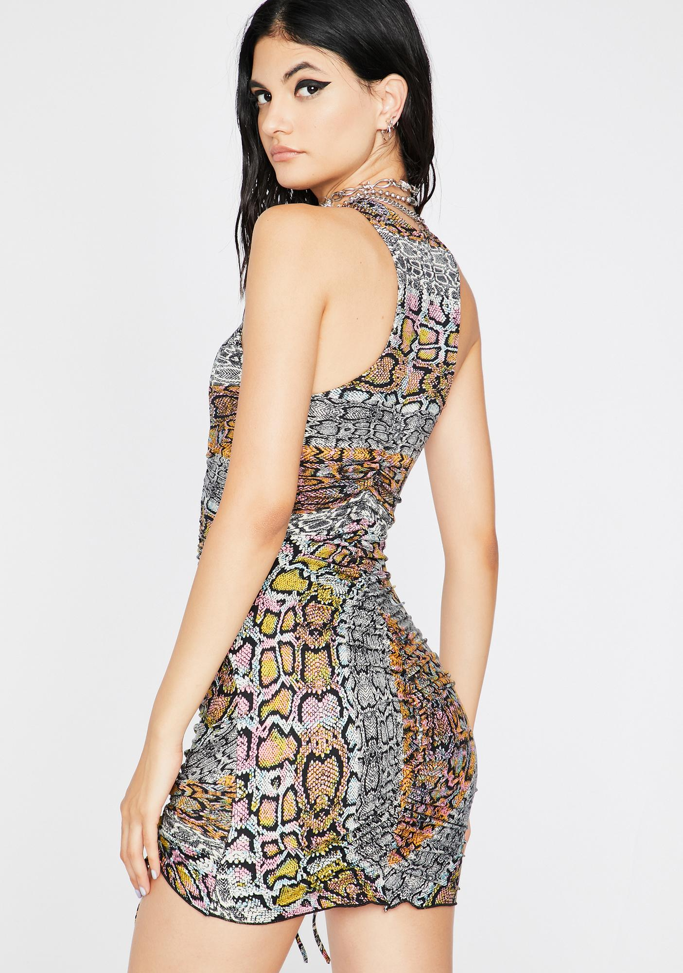Constricted Cutie Snakeskin Print Mini Dress