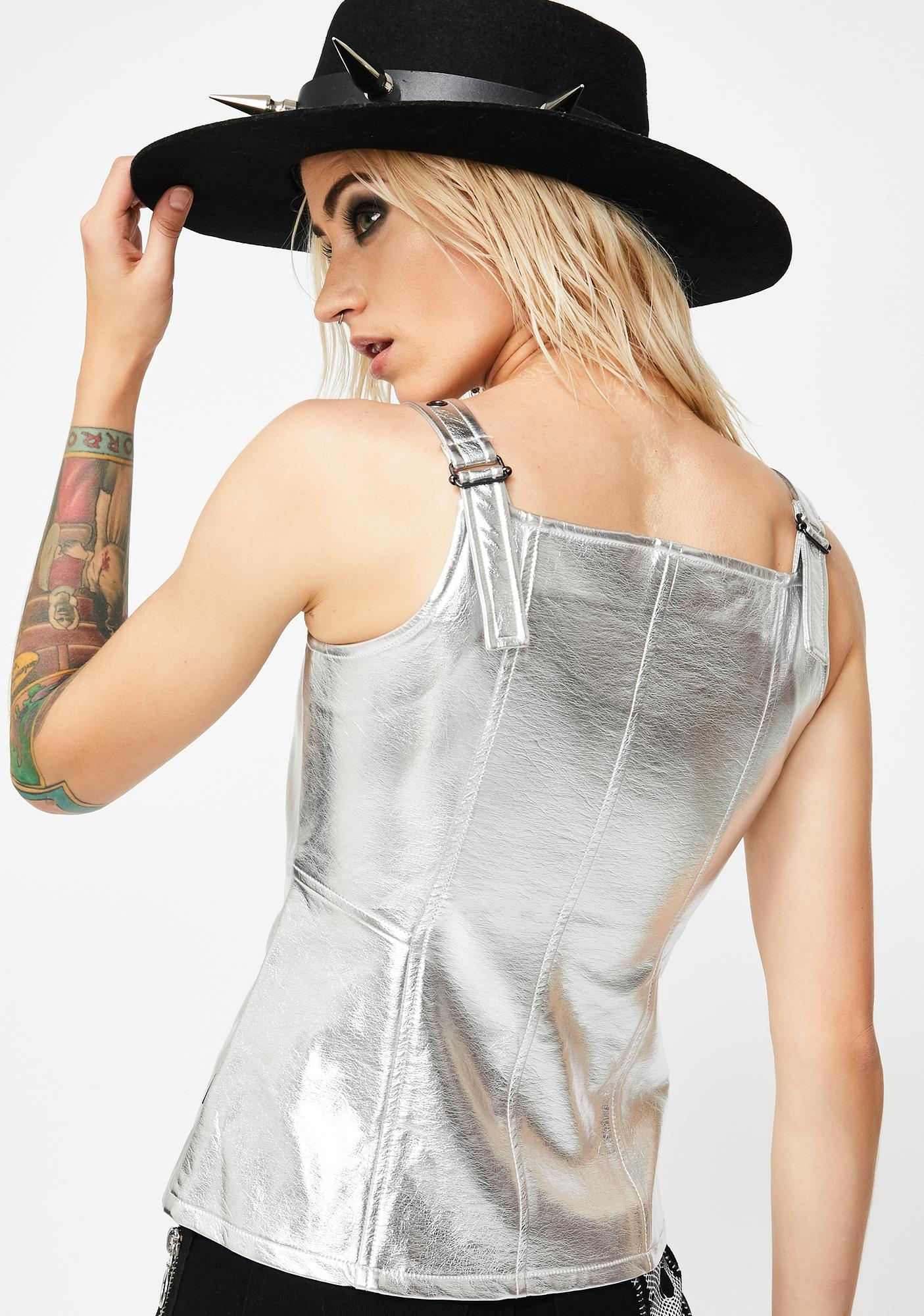 Tripp NYC Metallic Faux Leather Top