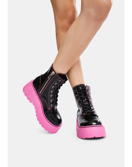 Neon Nights Platform Combat Boots