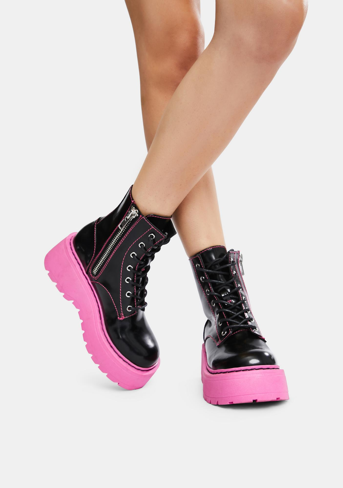 Current Mood Neon Nights Platform Combat Boots