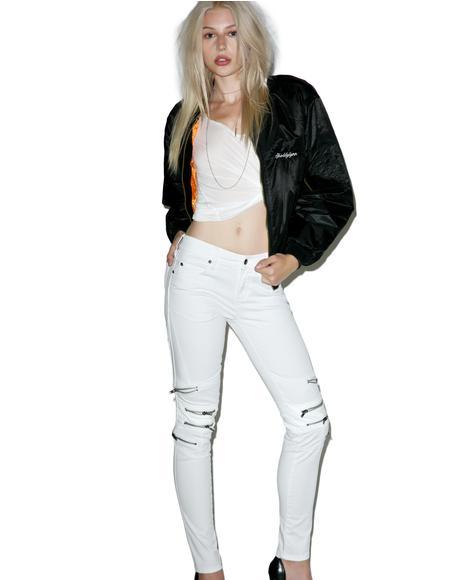 Knee Zipper Jeans