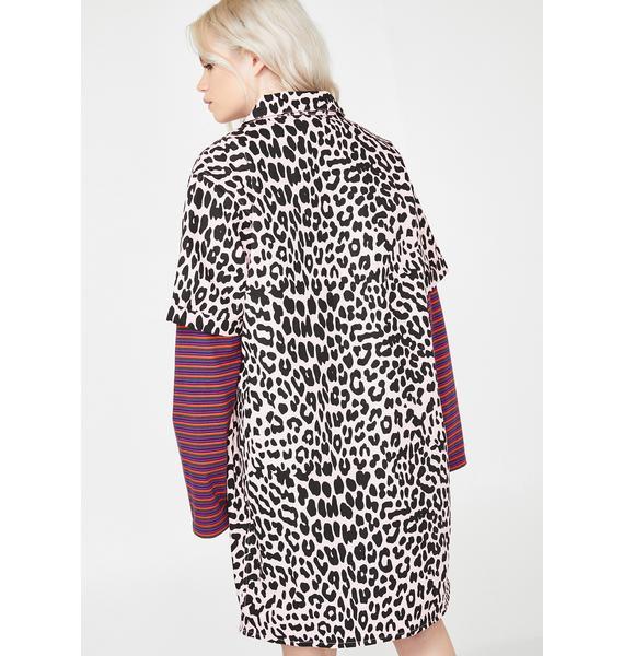 Lazy Oaf Pink Leopard Shirt Dress
